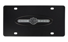 Harley-Davidson® Black Crystal Bar & Shield Front Plate Black Oval Emblem With Black Bar & Shield Crystal Strip Mounted On Stainless Steel Plate