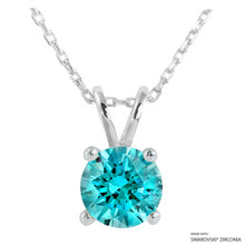 2 Carat Mint Round Necklace Made With Swarovski Zirconia