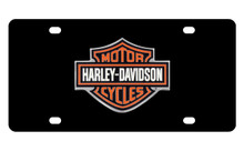 Harley-Davidson® Black Front Plate With 2 Color Bar & Shield Logo Emblem Mounted Onto Black Stainless Steel Plate