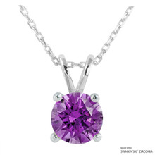 2 Carat Fancy Purple Round Necklace Made With Swarovski Zirconia
