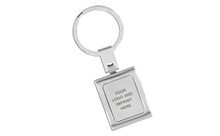 Satin Silver Square Rectangle Curved Key Chain