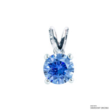 1 Carat Fancy Blue Solitaire Pendant Made With Swarovski Zirconia