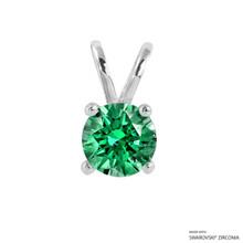1 Carat Fancy Green Round Pendant Made With Swarovski Zirconia