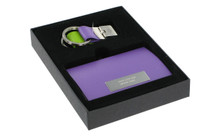 Purple Business Card Holder And Purple And Green Keychain Set