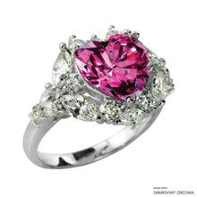 Ring(Size 6, 7, 8) Made With Swarovski Zirconia Heart 1 Pink