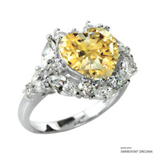 Ring(Size 6, 7, 8) Made With Swarovski Zirconia Heart 1 Yellow