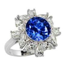 Ring(Size 6, 7, 8) Made With Swarovski Zirconia Round 1 Fancy Blue