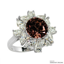 Ring(Size 6, 7, 8) Made With Swarovski Zirconia Round 1 Fancy Brown