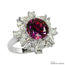Ring(Size 6, 7, 8) Made With Swarovski Zirconia Round 1 Red
