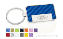 Ford Logo Carbon Fiber Vinyl Inlay Rectangle Key Chain