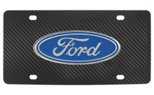 Ford Oval Emblem On A Chrome Stainless Plate Cfk Imitation Carbon Fiber Wrap
