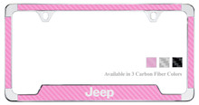 Jeep License Plate Frame With Carbon Fiber Vinyl Insert