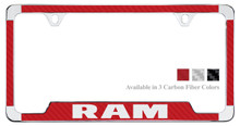 Ram License Plate Frame With Carbon Fiber Vinyl Insert