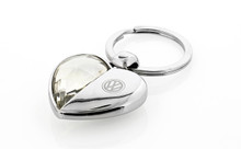 Volkswagen Logo Half Crystal & Half Metal Heart Shape Key Chain