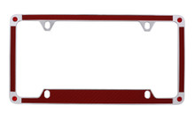 Red Carbon Fiber Vinyl Inlay License Plate Frame Embellished With Swarovski® Crystals