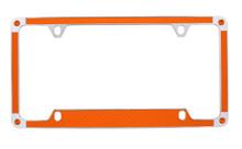 Orange Carbon Fiber Vinyl Inlay License Plate Frame Embellished With Swarovski® Crystals