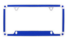 Blue Carbon Fiber Vinyl Inlay License Plate Frame Embellished With Swarovski® Crystals