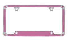 Pink Carbon Fiber Vinyl Inlay License Plate Frame Embellished With Swarovski® Crystals