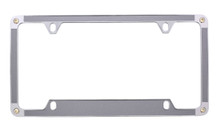 Satin Silver Textured Vinyl Inlay License Plate Frame Embellished With Swarovski® Crystals