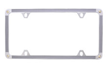 Satin Silver Vinyl Inlay Thin Rim License Plate Frame Embellished With Swarovski® Crystals