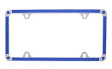 Blue Carbon Fiber Vinyl Inlay Thin Rim License Plate Frame Embellished With Swarovski® Crystals