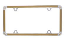 Gold Carbon Fiber Vinyl Inlay Thin Rim License Plate Frame Embellished With Swarovski® Crystals