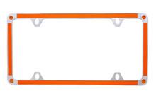 Orange Carbon Fiber Vinyl Inlay Thin Rim License Plate Frame Embellished With Swarovski® Crystals
