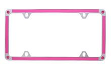 Pink Carbon Fiber Vinyl Inlay Thin Rim License Plate Frame Embellished With Swarovski® Crystals
