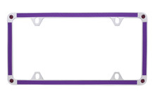 Purple Carbon Fiber Vinyl Inlay Thin Rim License Plate Frame Embellished With Swarovski® Crystals