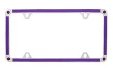 Purple Carbon Fiber Vinyl Inlay Thin Rim License Plate Frame Embellished With Swarovski® Crystals