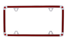 Red Carbon Fiber Vinyl Inlay Thin Rim License Plate Frame Embellished With Swarovski® Crystals