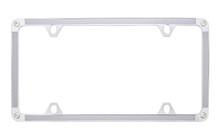 Silver Carbon Fiber Vinyl Inlay Thin Rim License Plate Frame Embellished With Swarovski® Crystals