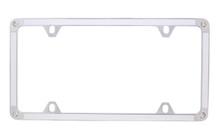 White Carbon Fiber Vinyl Inlay Thin Rim License Plate Frame Embellished With Swarovski® Crystals