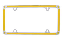 Yellow Carbon Fiber Vinyl Inlay Thin Rim License Plate Frame Embellished With Swarovski® Crystals