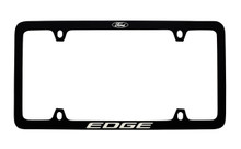 Ford Black Powder Coated Zinc License Plate Frame With Logo And Edge Imprint In White