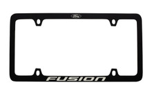 Ford Black Powder Coated Zinc License Pate Frame With Logo And Fusion Imprint In Light Grey