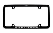 Ford Black Powder Coated Zinc License Plate Frame With Logo And Explorer Imprint In White