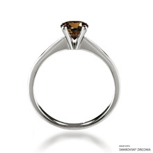 Classic 1 Carat Fancy Brown Solitaire Ring Made With Swarovski Zirconia