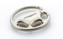 Plain Steering Wheel Keychain with Laser Engraved Chrysler Imprint