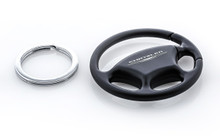 Plain Black Steering Wheel Keychain with Laser Engraved Chrysler Imprint