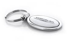 Metal Oval Shape Key Chain with Laser Engraved Chrysler Imprint