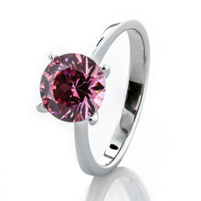 Classic 2 Carat Fancy Pink Solitaire Ring Made With Swarovski Zirconia