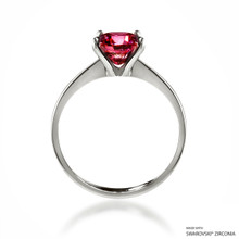 Classic 2 Carat Red Solitaire Ring Made With Swarovski Zirconia