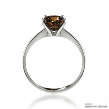 Classic 2 Carat Fancy Brown Solitaire Ring Made With Swarovski Zirconia