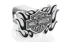 Harley-Davidson® Bar & Shield new black flame design metal tow hitch cover. Quality craftsmanship. Stainless Steel post with rattle-eliminating rubber gaskets. Official licensed HD product.