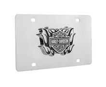 Harley-Davidson® Bar & Shield new black flame design polished metal front plate. Quality craftsmanship. Stainless Steel plate with 3D metal emblem. Official licensed product of Harley-Davidson®.
