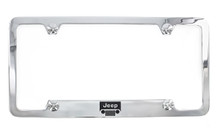 Jeep grill logo and wordmark metal license plate frame. Quality craftsmanship and best on the market. Durable for harsh weather. Standard US size. Official licensed product.