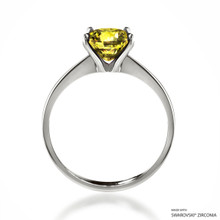 Classic 2 Carat Fancy Yellow Solitaire Ring Made With Swarovski Zirconia