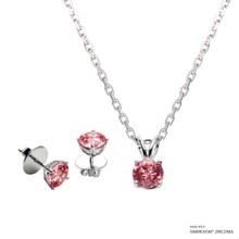1 Carat Fancy Pink Solitaire Set Made With Swarovski Zirconia