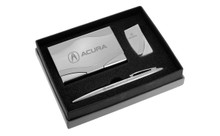 Acura Polished Business Card Holder, Money Clip & Pen Engravable Gift Set